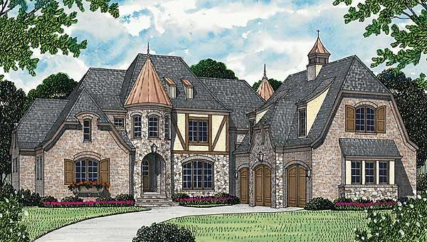 Plan 17691LV French Country Manor House and Modern