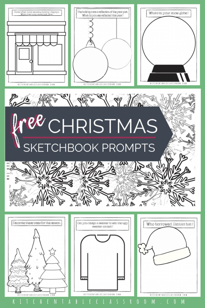 Christmas Coloring Pages Free Printable Sketchbook Prompts The Kitchen Table Classroom Christmas Coloring Pages Free Christmas Coloring Pages Christmas Art Projects