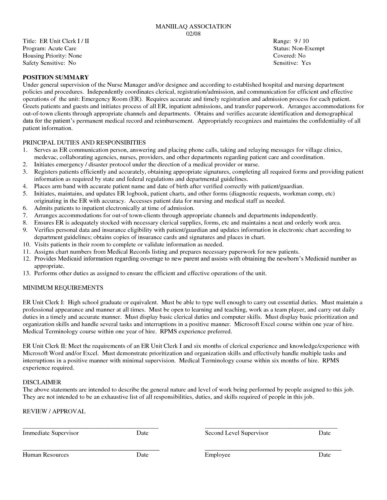 Unit Secretary Resume Medical Clerk Resume Samples Dental Receptionist Records Sample