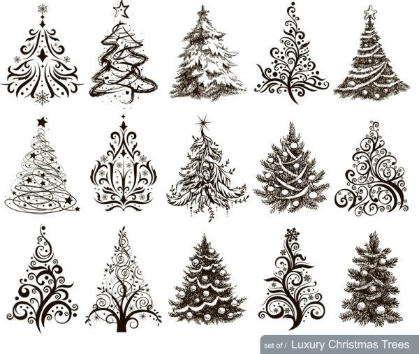Hand Drawn Christmas Tree Mix Design Vector Christmas Tree Drawing Luxury Christmas Tree Christmas Pictures To Draw