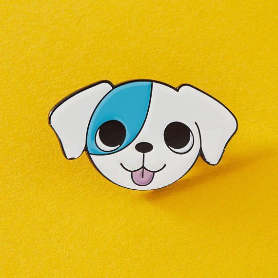 Charming Blue Patch Puppy Enamel Pin / Dog Pin / Cute Dog Badge Lapel