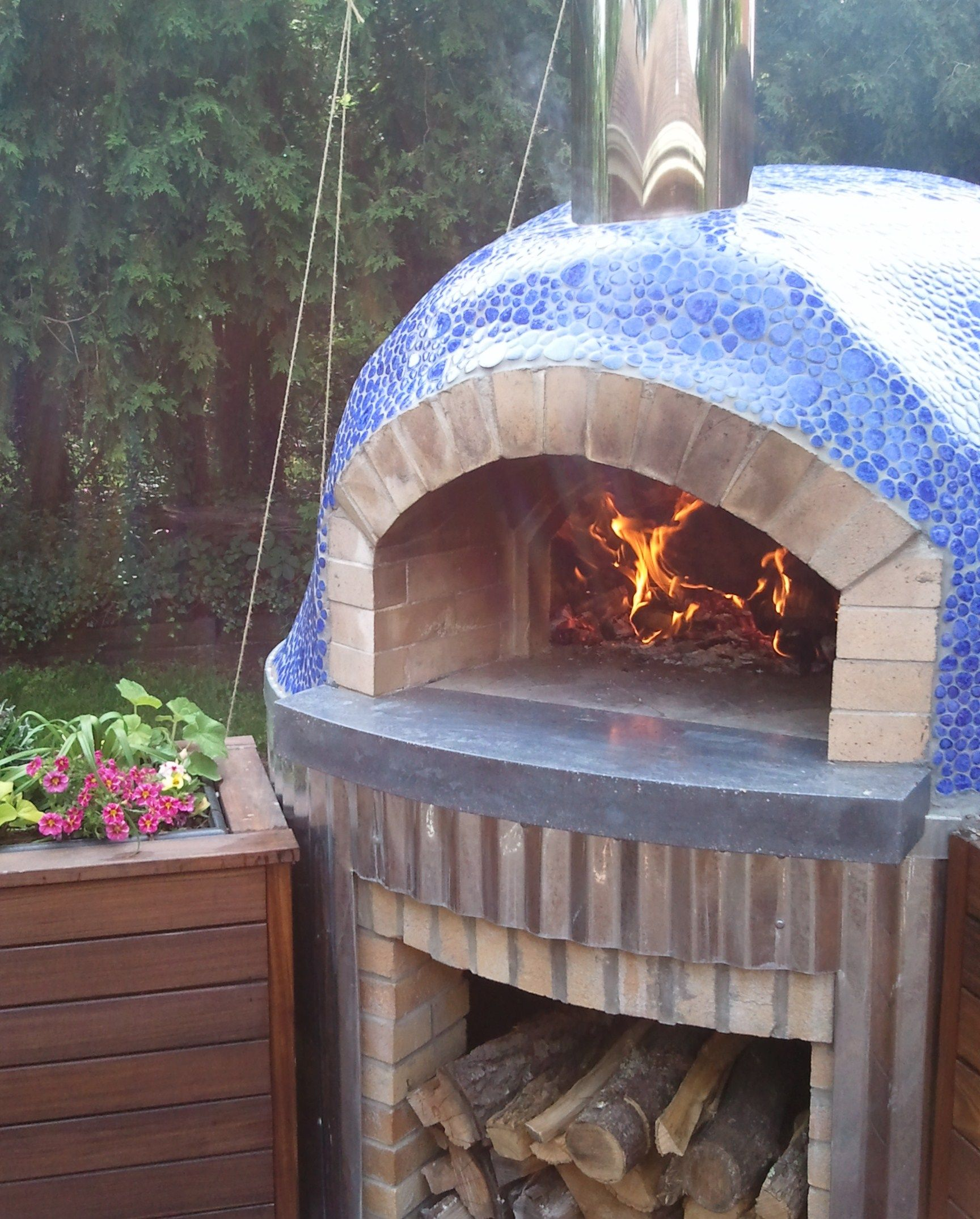 Great Outdoor Kitchen Complete With Pizza Oven: Finished Oven With Blue Tile Mosaic Dome