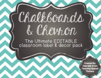 Chalkboard and Chevron, Oh My! EDITABLE Old School Classroom Decor ...
