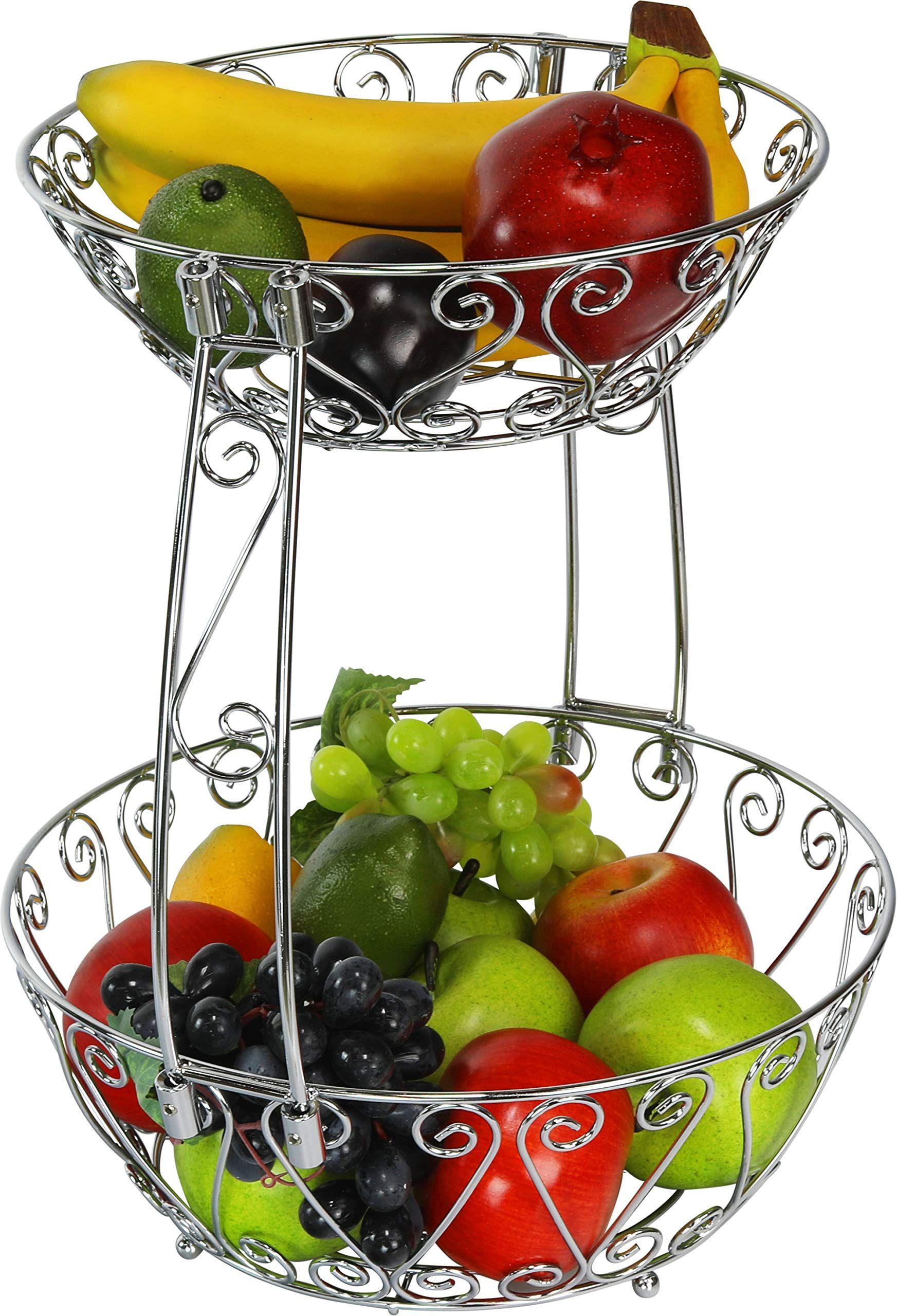 2 Tier Countertop Fruit Basket Bowl Storage Chrome Kitchen
