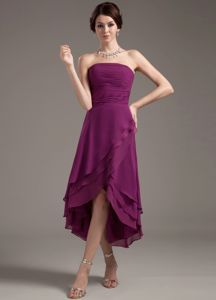 Ruching Strapless High-low Bridesmaid Dress in Dark Purple low price bridesmaid dress stores