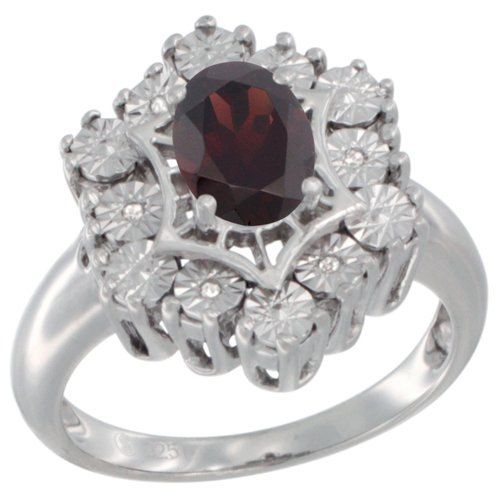 $97.05 USD, Sterling Silver Natural Garnet Ring 7x5 Oval by WorldJewels