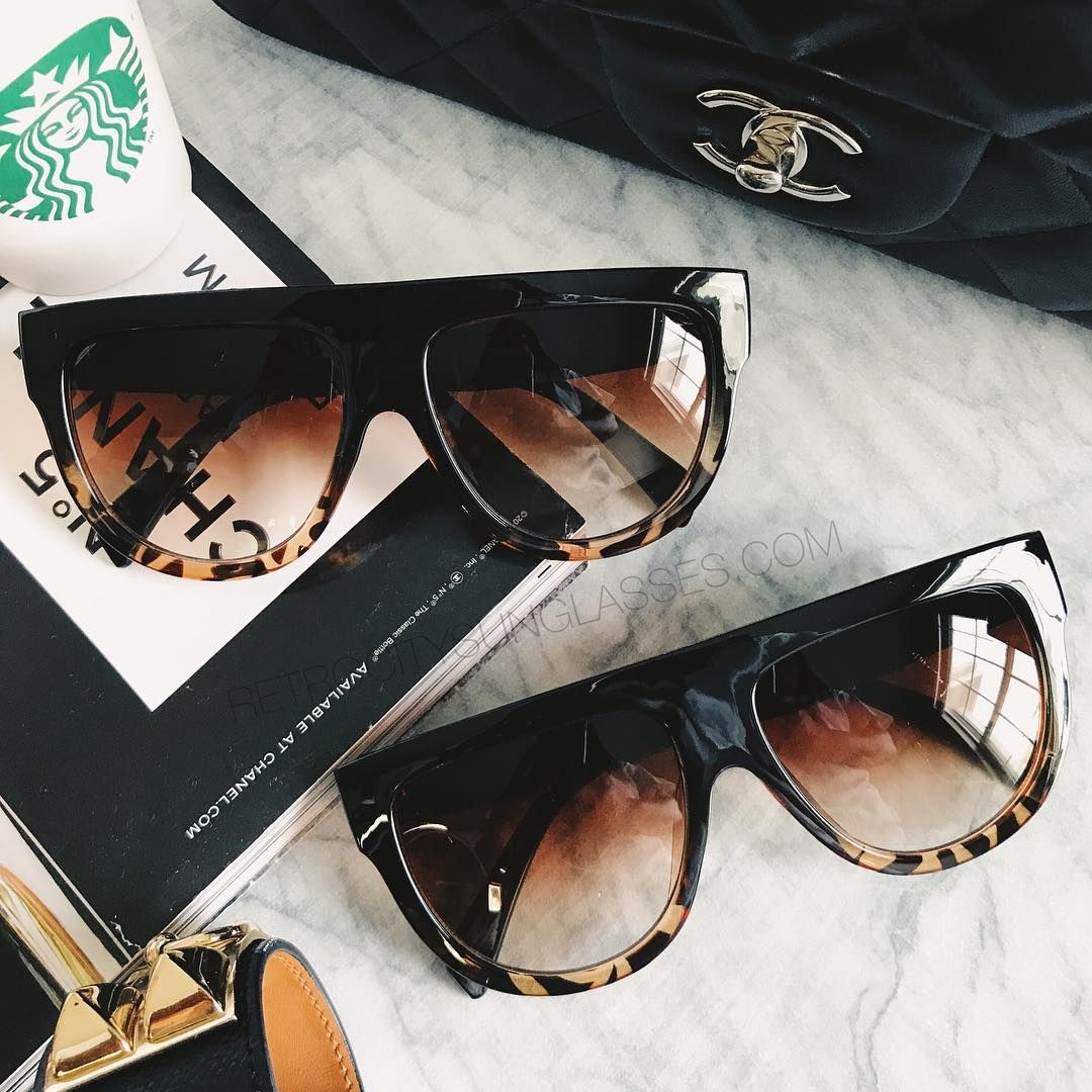 bae646f1b Designer Inspired Flat Top Shadow CL 41026/S Sunglasses in black and  tortoise ombre frames.