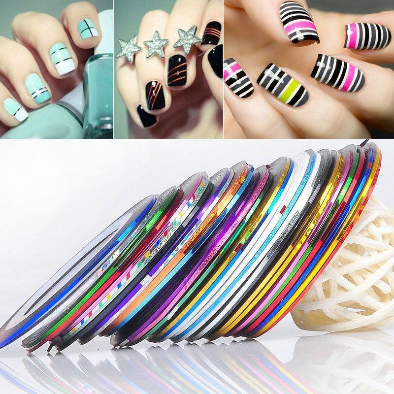 30Pcs Mixed Colors Rolls Striping Tape Line DIY Nail Art Tips ...