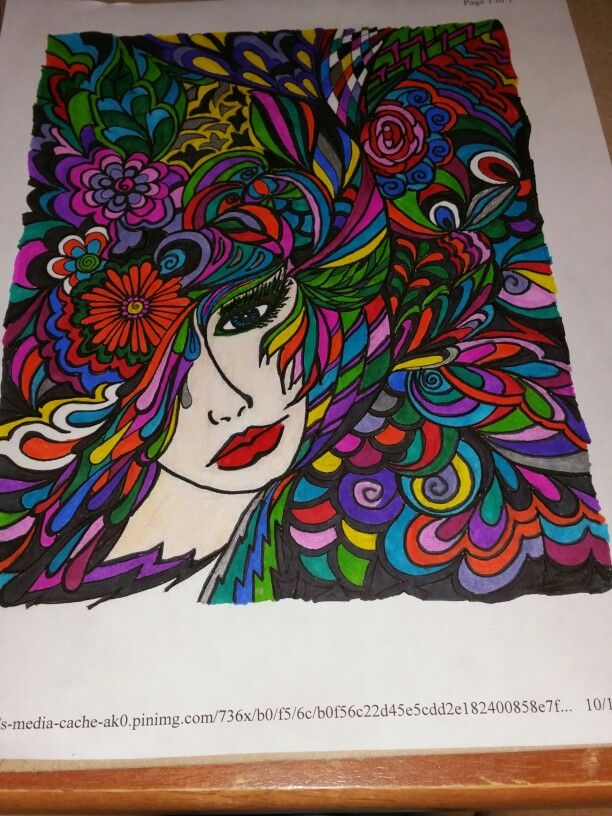 Adult Coloring Page Colored With Sharpies My Adult Coloring Pages