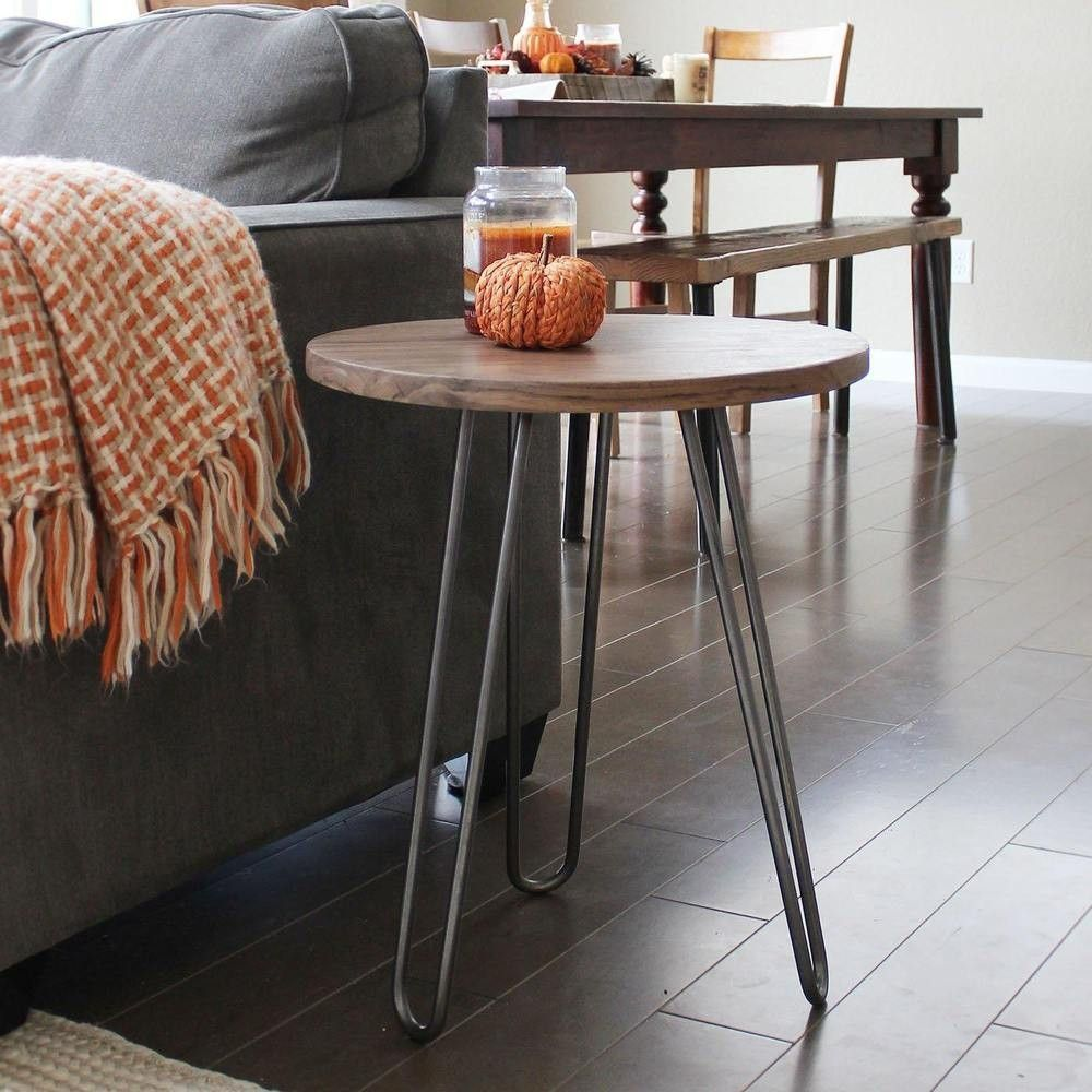 Walnut Wood And Metal End Table Round Hairpin Leg Free