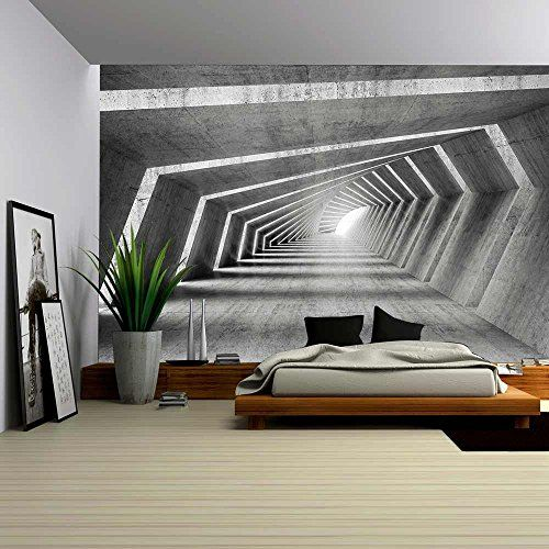 Wall26 Abstract Illuminated Empty Bent Concrete Corridor Interior 3d Render Illu 3d Wallpaper For Walls 3d Wallpaper Designs For Walls Removable Wall Murals