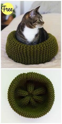 Cat Bed Free Knitting Pattern #knitting