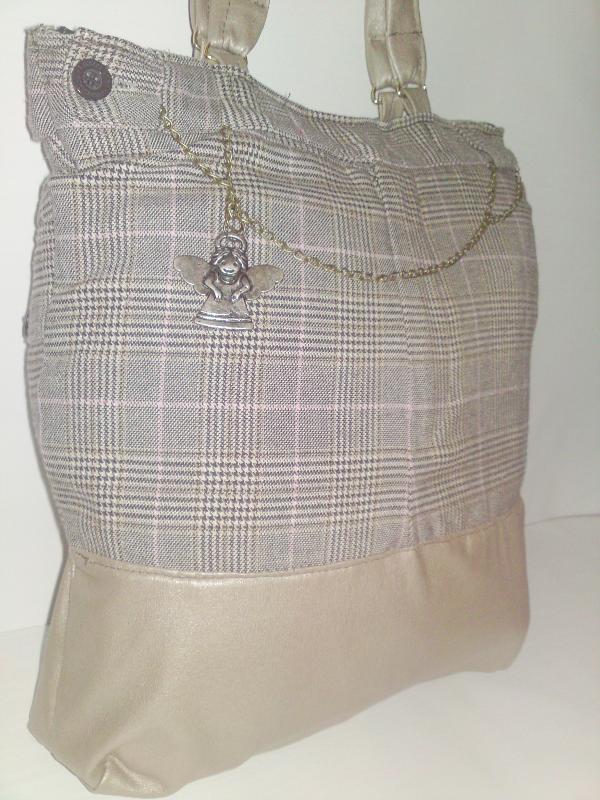 handmade faux-leather and tweed fabric women handbag