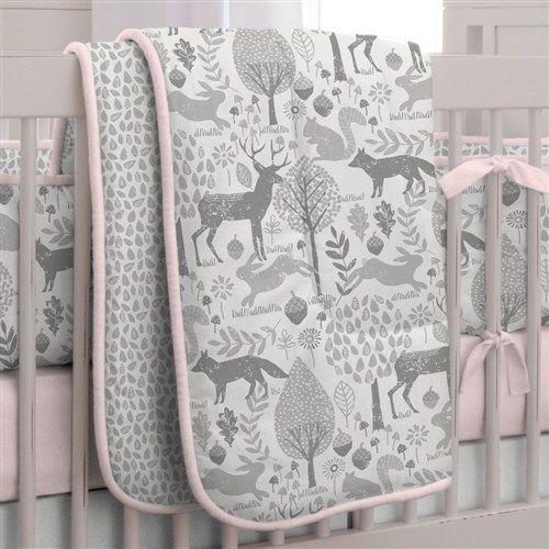 Pink And Gray Woodland Crib Bedding Woodland Crib Bedding Woodland Crib Baby Bedding Sets