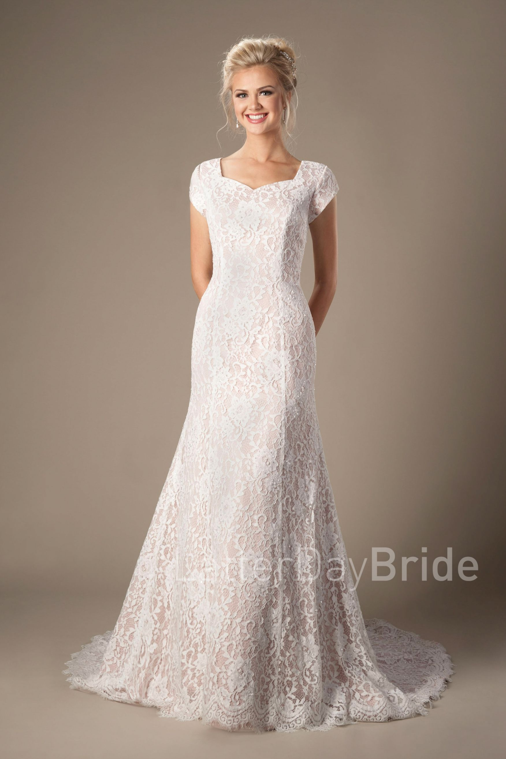 Bellamy LDS Modest Wedding Dress Worldwide Shipping This - Lds Wedding Dress