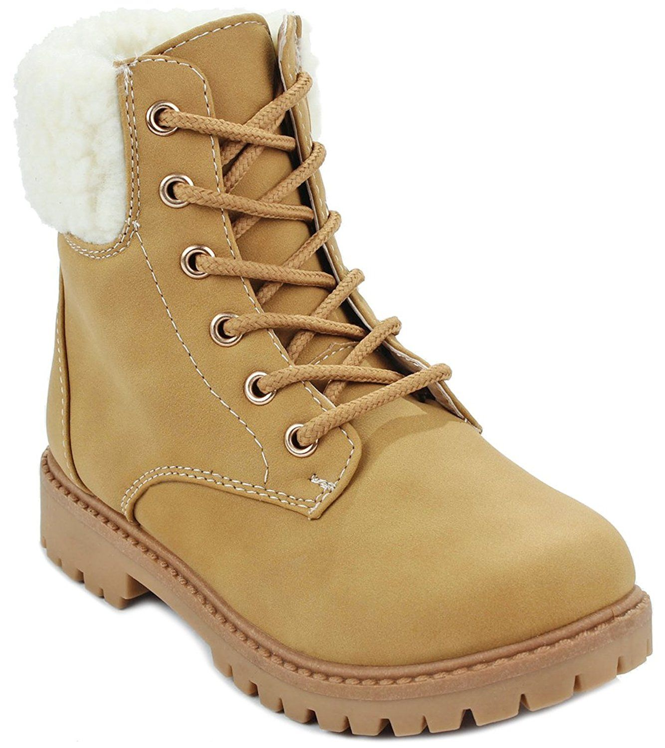 d5f0b016092 Kids Girls Faux Wool Fur Cuff Lace Up Nubuck Combat High Top Ankle ...