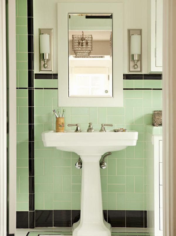 how to use green in bathroom designs - Bathroom Sink And Mirror