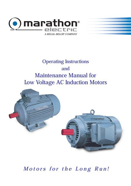 Operating Instructions And Maintenance Manual For Lv Ac Induction Motors Induction Motor Marathon Electric