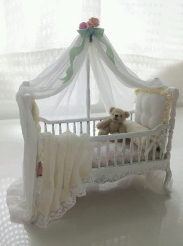 Dollhouse miniature white baby crib artist made ooak for Kinderzimmermobel baby