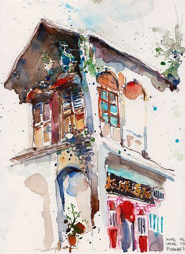 Shophouse Love Lane Penang Watercolor Art Art Painting