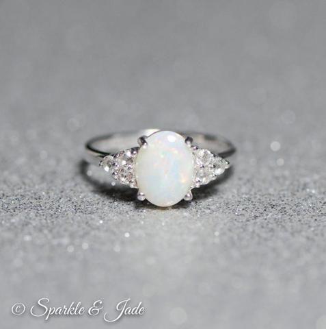 Nathis White CZ Gemstone Ring