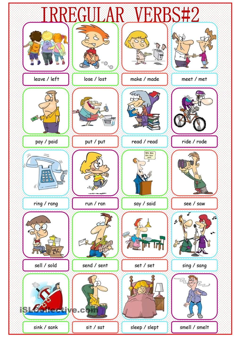 Irregular Verbs Picture Dictionary#2 | 7.-INFOGRAFÍAS (English ...
