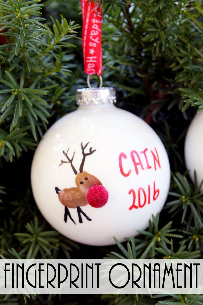 Fingerprint Christmas Ornament Reindeer Kids Christmas