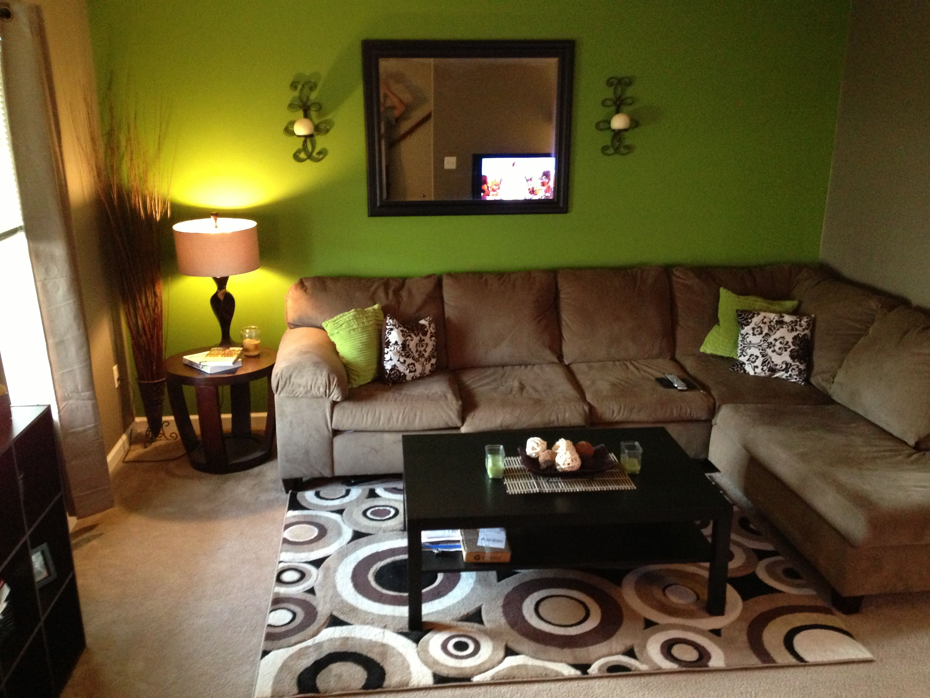 green and brown living room paint ideas l shaped sofa apartment touch up pinterest