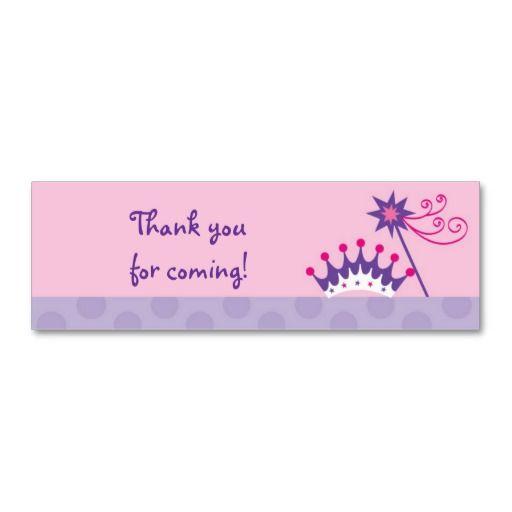 Purple Princess Castle Party Thank You Cards