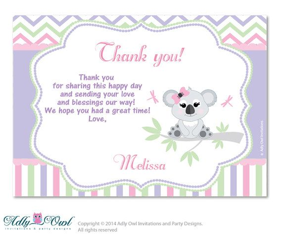 Girl Koala Thank You Card With Personalization Girl Koala