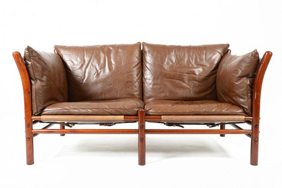 Sofa Cover Gorgeous Swedish modern mid century safari style two seater leather sofa by Arne Norell