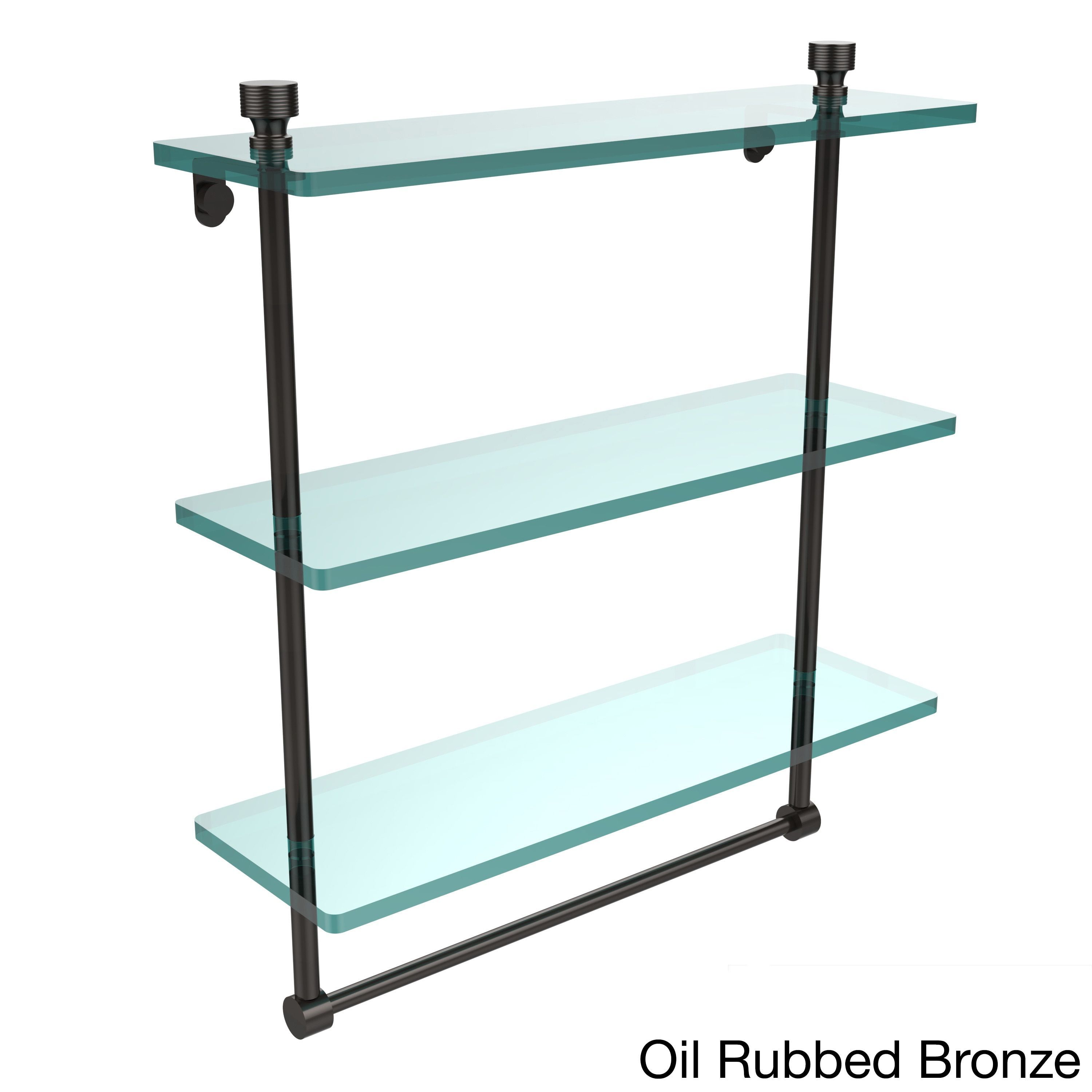 Allied Foxtrot Collection 16-inch 3-tiered Glass Shelf with Integrated Towel Bar