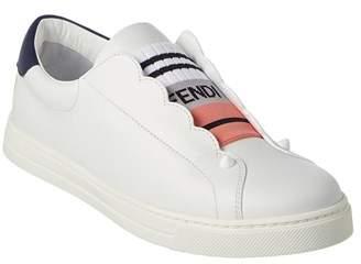 Fendi Scalloped Leather Slip-on Sneaker.