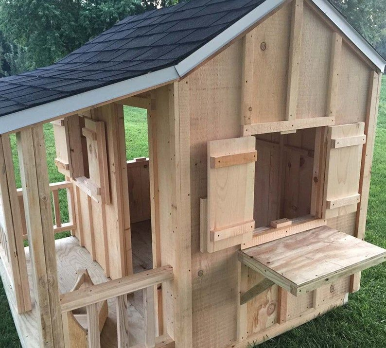 Kids Outdoor Playhouse, Dollhouse, Outdoor Wooden Playset