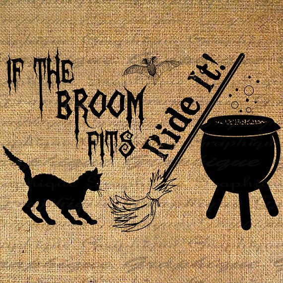 Digital Collage Download Burlap Transfer If the Broom by Graphique, $1.00