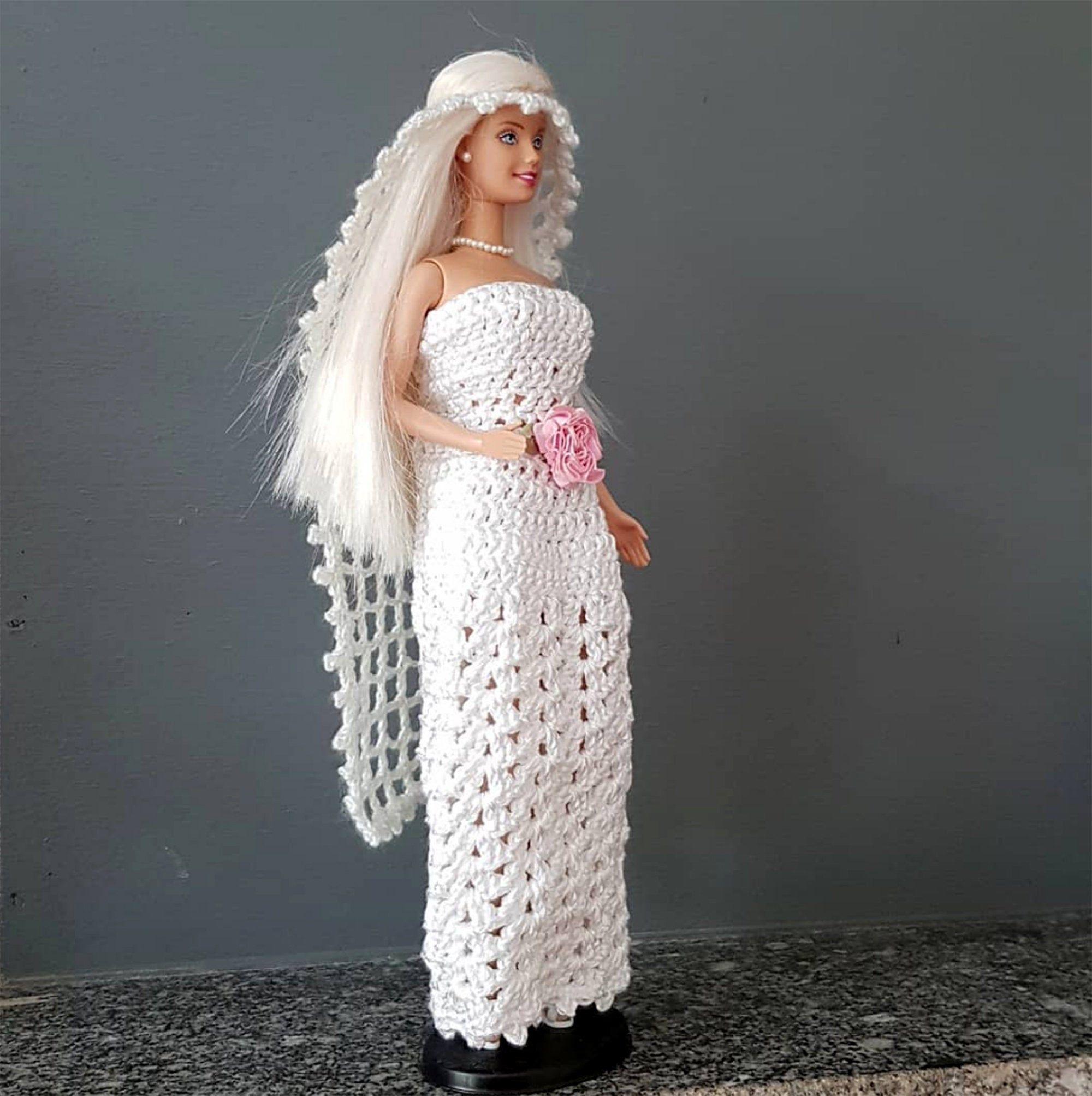 Robe de mariée Barbie ensemble bohème mariage robe bustier blanche et voile blanc en coton fait au crochet