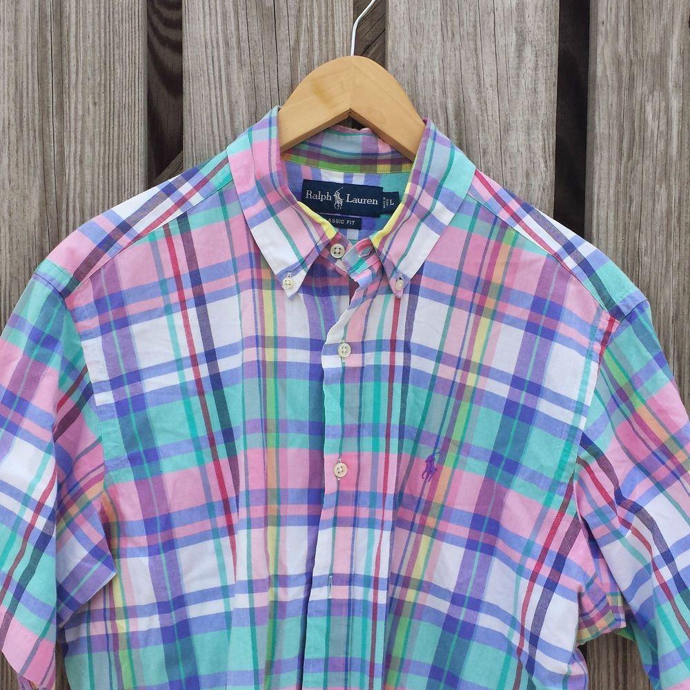 b483876bef85d Mens RALPH LAUREN Pastel Plaid Shirt - Classic Fit - Pink Green ...