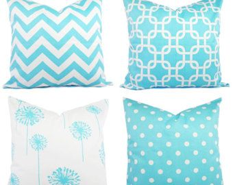 Mint Pillow Covers Mint Green and White by CastawayCoveDecor