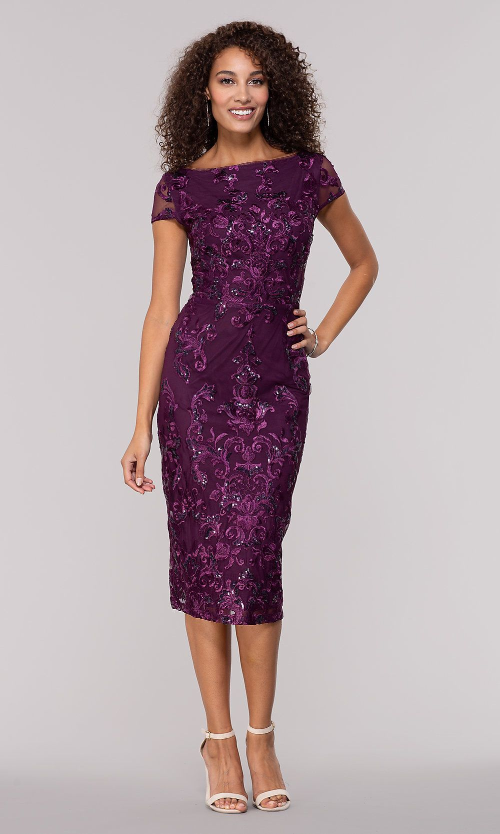 Eggplant Purple Knee Length Wedding Guest Dress Cocktail