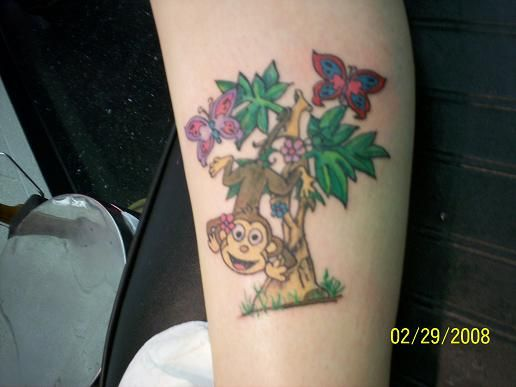 9ed8396c4b4f4 Monkeys Hanging Tattoos Design | Monkey hanging from tree | TATTOOS ...