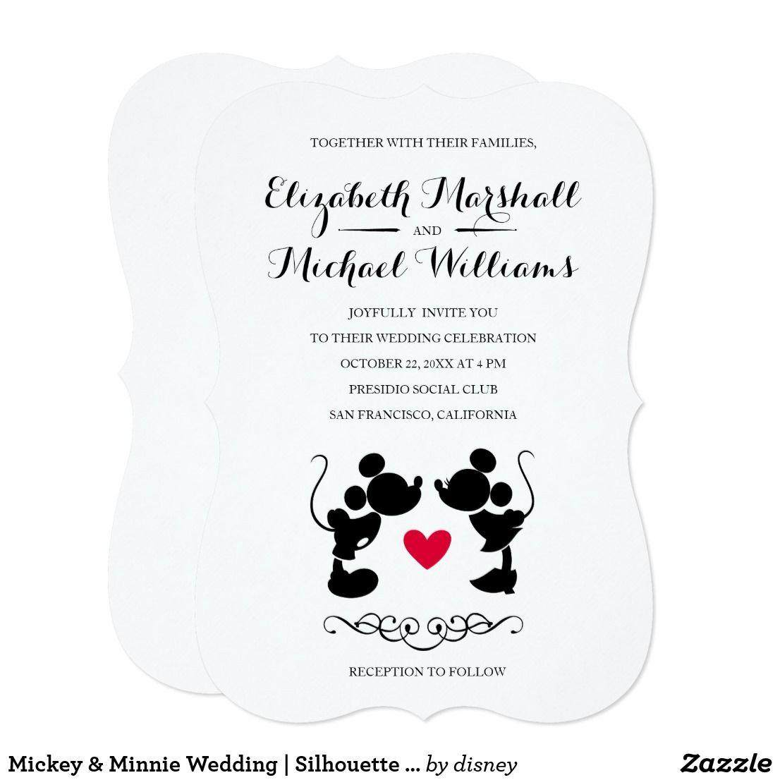 Mickey & Minnie Wedding | Silhouette Invitation | Wedding Invites ...