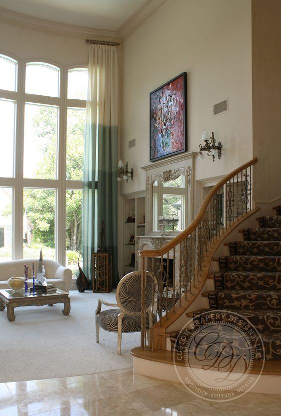 idea for a tall window- floor to ceiling drapes made from ...