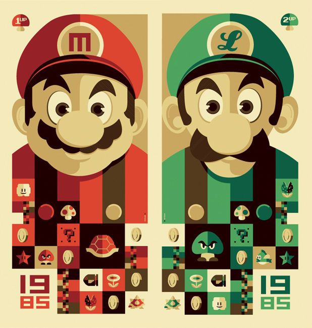 Os Incriveis Posters Vetorizados De Tom Whalen Mario E Luigi Cartazes Retro Game Art