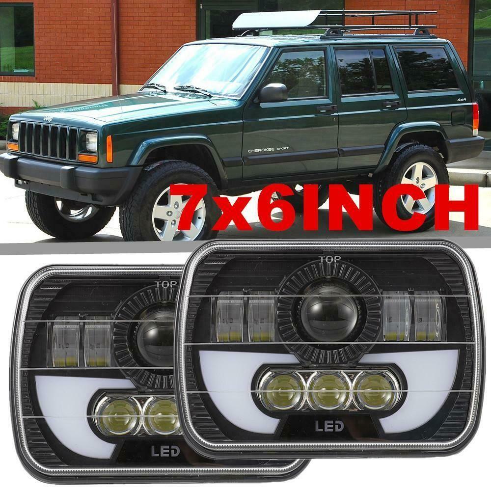 Pair 7x6 5X7 120W LED Headlight Halo DRL For 86-95 Jeep Wrangler YJ Cherokee XJ
