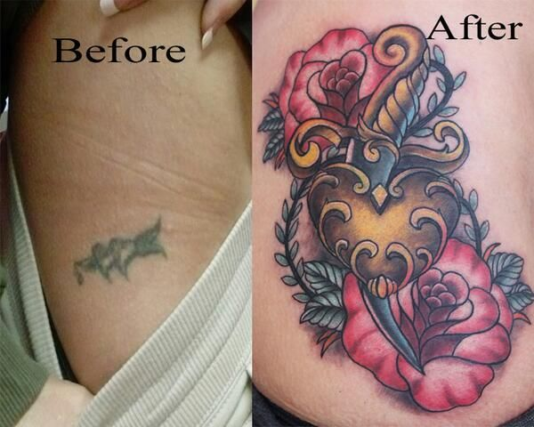 Heart Rose and Dagger Tattoo Coverup by Jake Smith | Color ...