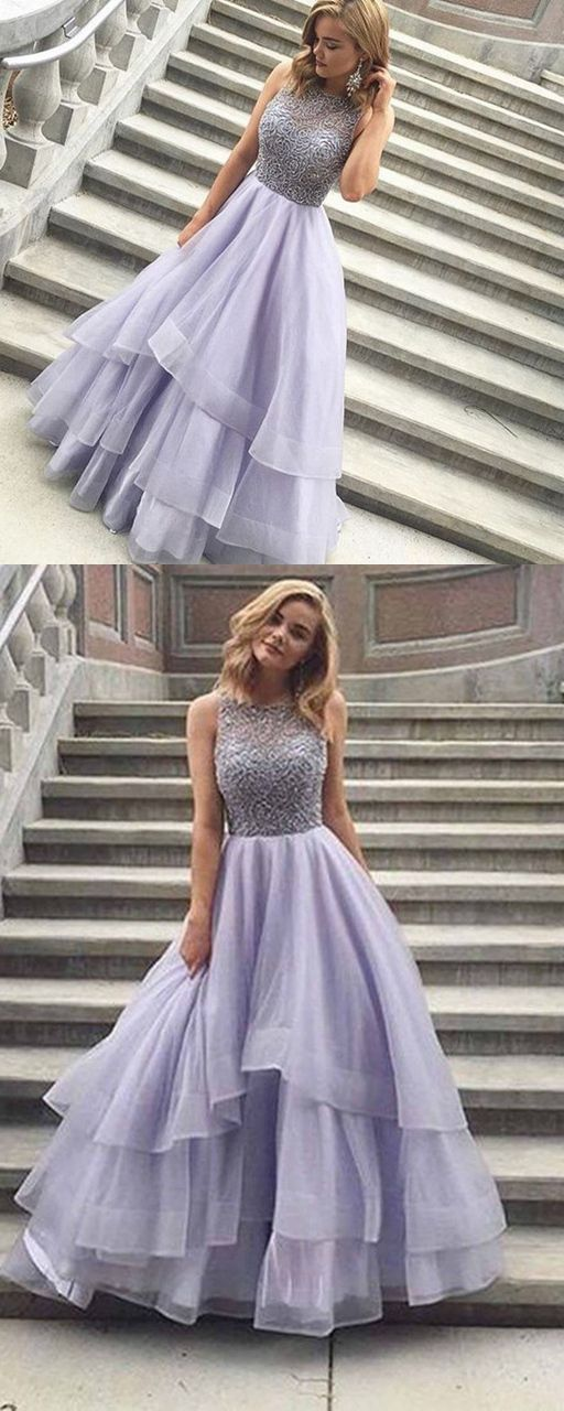 Sexy Lavender Tulle round neck amazing A-line long prom dresses on Storenvy