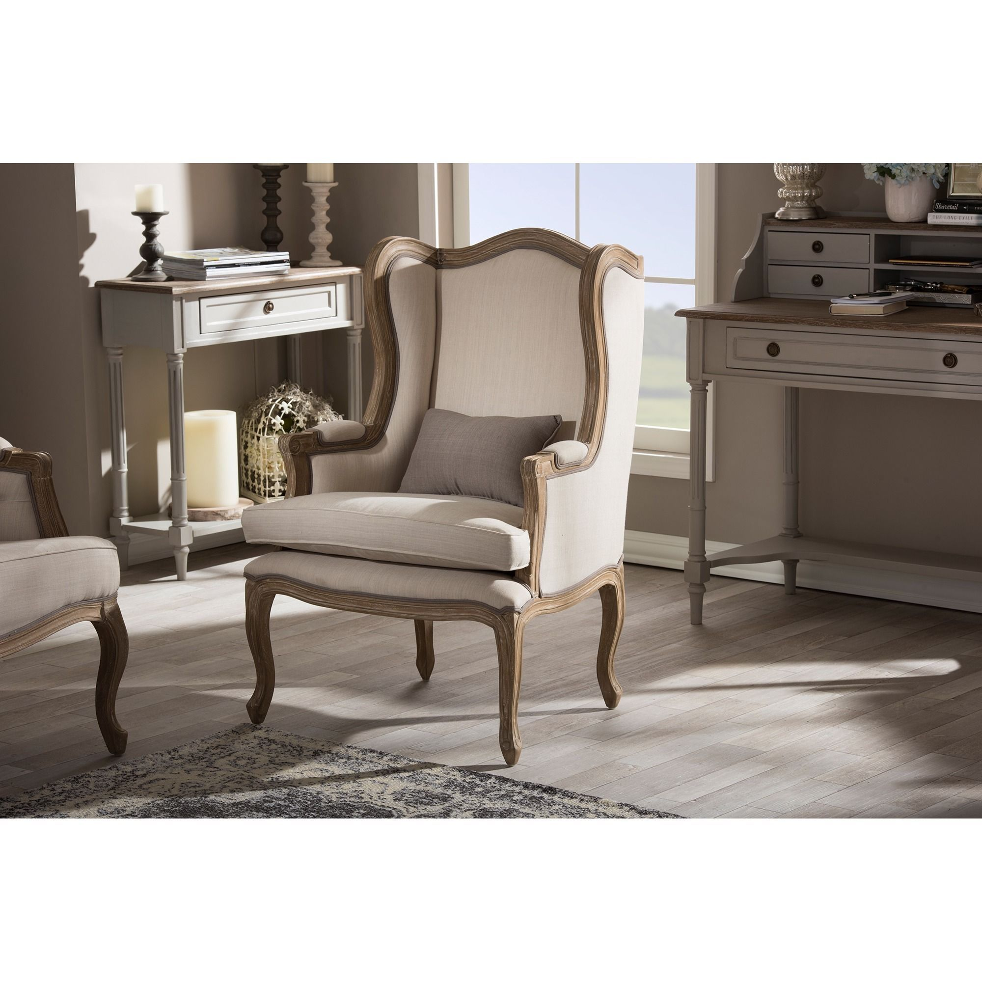 Baxton studio oreille french provincial style white wash distressed upholstered armchair