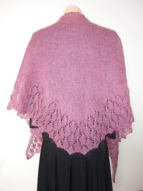 Châle en mohair rose magenta, tricoté main, bordure dentelle ...