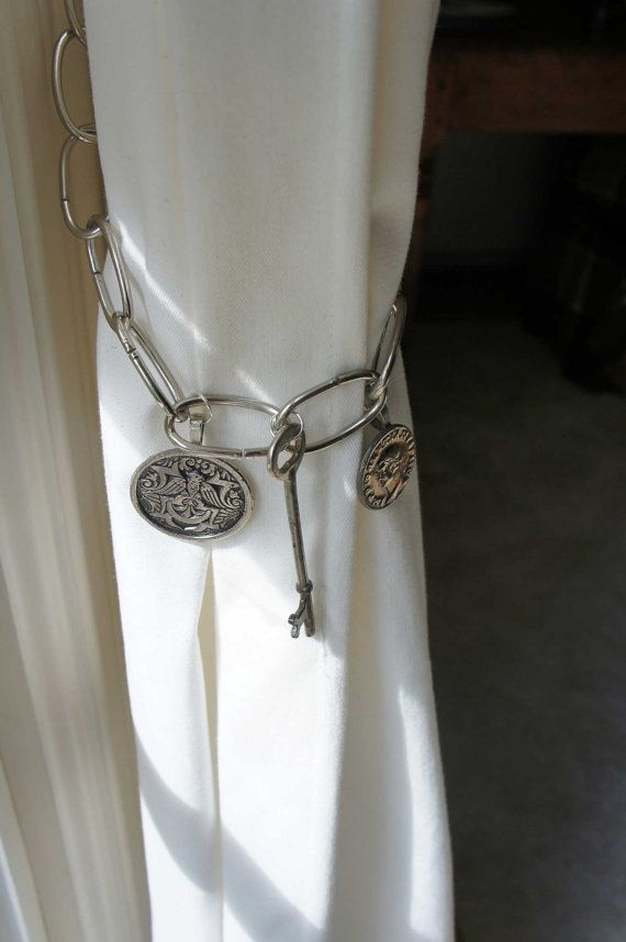 Antique Picture Buttons Paired With A Skeleton Key Give This Silver Chain Curtain Tie Back Very Unique Look