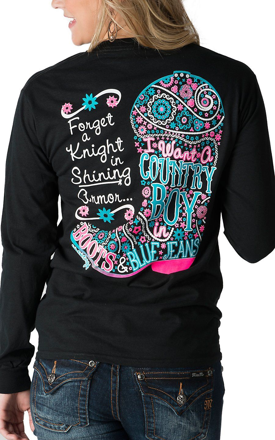 32694c082 Girlie Girl Originals Black I Want A Country Boy Long Sleeves Tee ...
